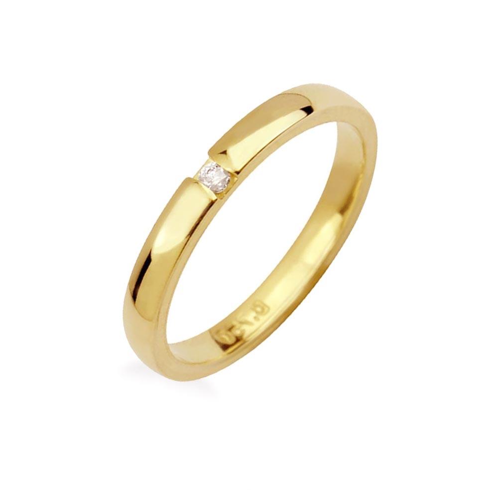 Aliança Meia Cana 2,4 mm em Ouro 18k com Diamante