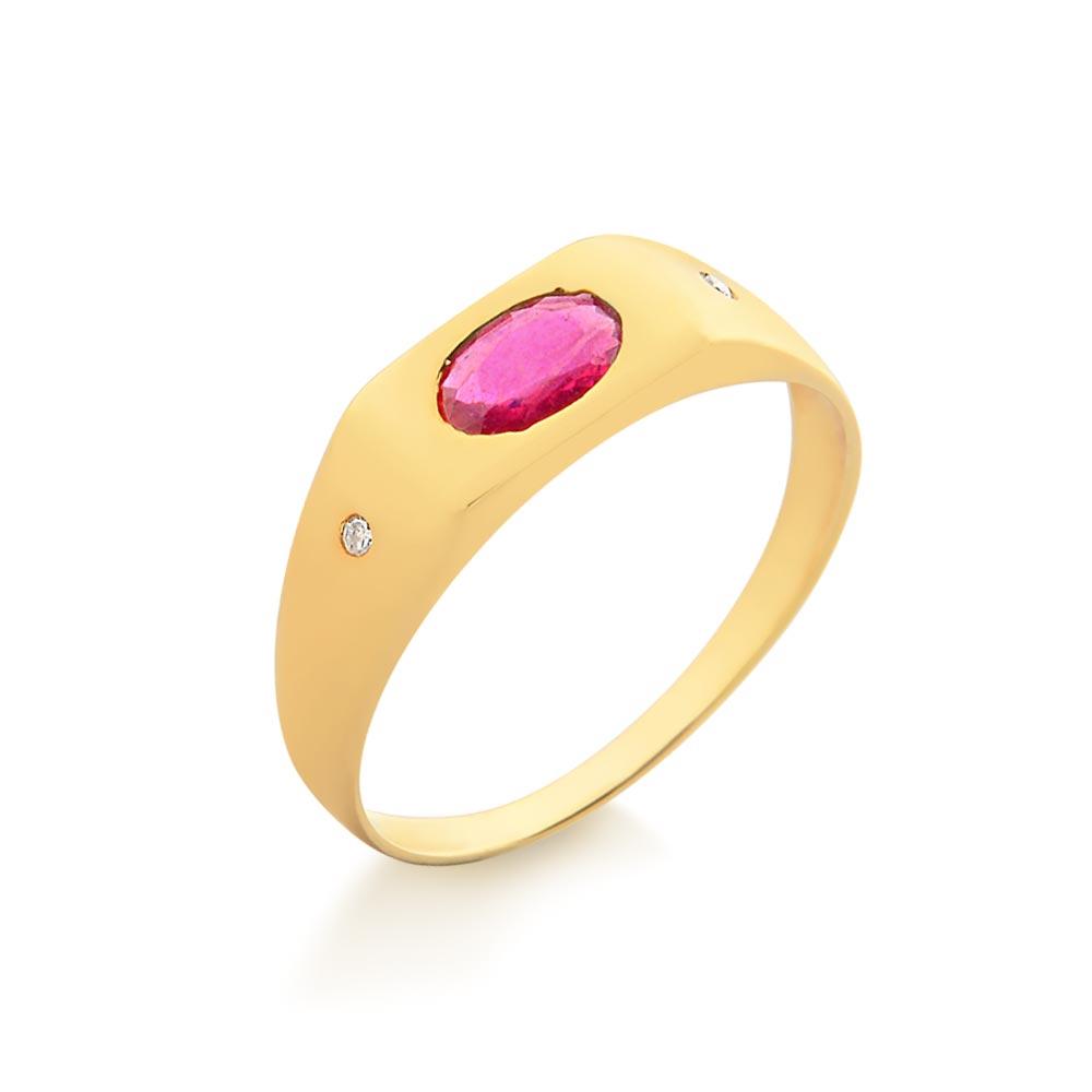 00a57ce1b57 Imagem do produto Anel de Formatura com Pedra Natural Oval e Emblemas -  9922150 - ouro