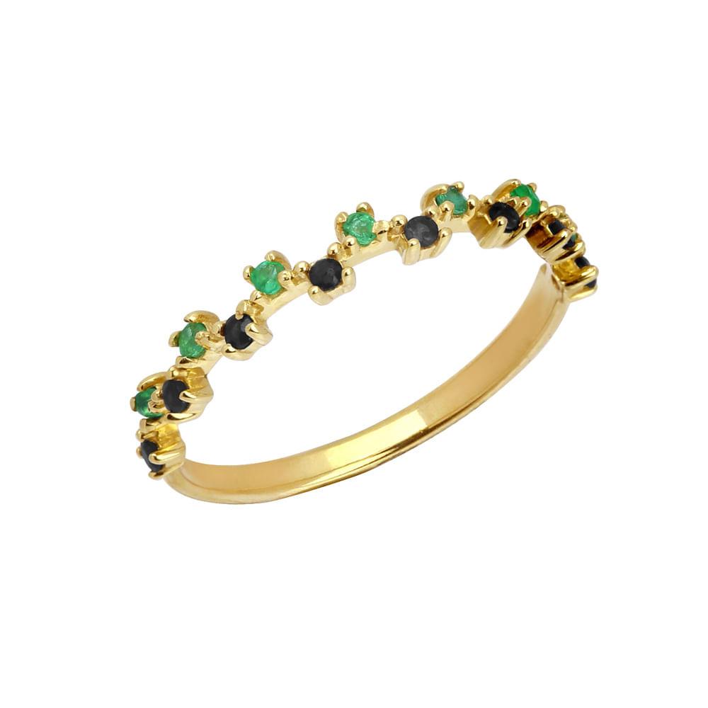 Anel meia aliança em ouro 18k com esmeraldas e espinélios. Este anel é componível e se encaixa perfeitamente com anéis de mesmo modelo.